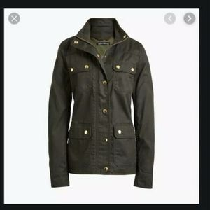 NWT J. Crew Mossy Brown Resin Coated Twill Jacket